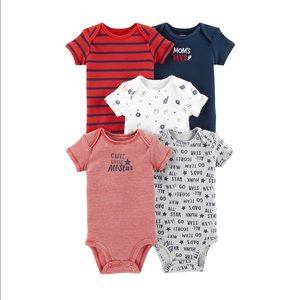 5 Pack Boys Sports Graphic shortsleeved Bodysuits